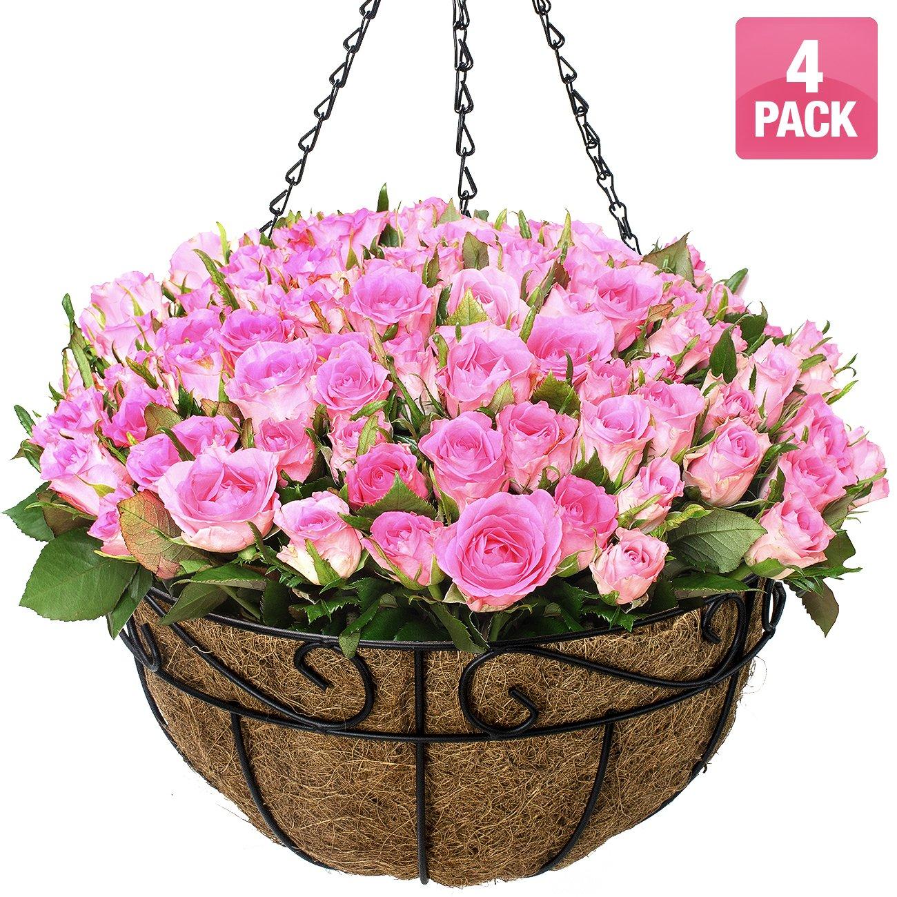 Sorbus Planter Basket Set, Hanging Flower Pot Basket & Liner for Indoor/Outdoor Garden Décor, Perfect for Home, Garden, Patio, Deck (4-Pack) by Sorbus