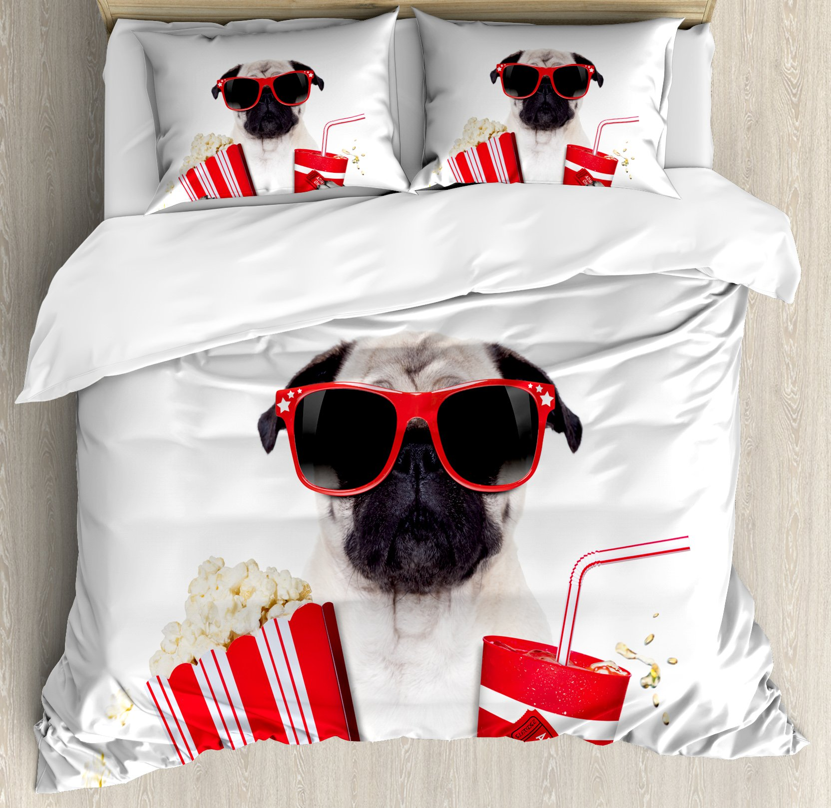 Pug King Size Duvet Cover Set by Ambesonne, Going to the Movies Pug Dog Popcorn Soft Drink Movie Star Glasses Animal Fun Image, Decorative 3 Piece Bedding Set with 2 Pillow Shams, Cream Red Black
