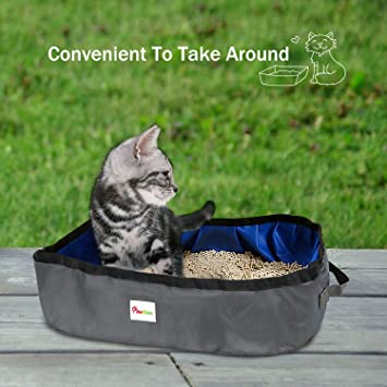 Pawaboo Caja de Arena Plegable para Gatos, 18 x 12 Inch Portable Waterproof Fabric Pet Cat Ketty Litter Pan Tray for Travel Camping Home Use, ...