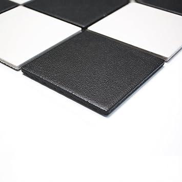 Fliesen Mosaik Mosaikfliese Keramik Quadrat Schwarz Weiß Bad Küche 6mm Neu  #264
