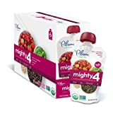 Plum Organics Mighty 4, Organic Toddler Food, Cherry, Strawberry, Black Bean, Spinach and Oat, 4.0 ounce pouch (Pack of 12)