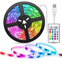 Muzikale LED-strip, TASMOR 5m TV 5050 RGB Multicolor LED-strip, LED-strip met afstandsbediening, 16 kleuren en 4 modi…