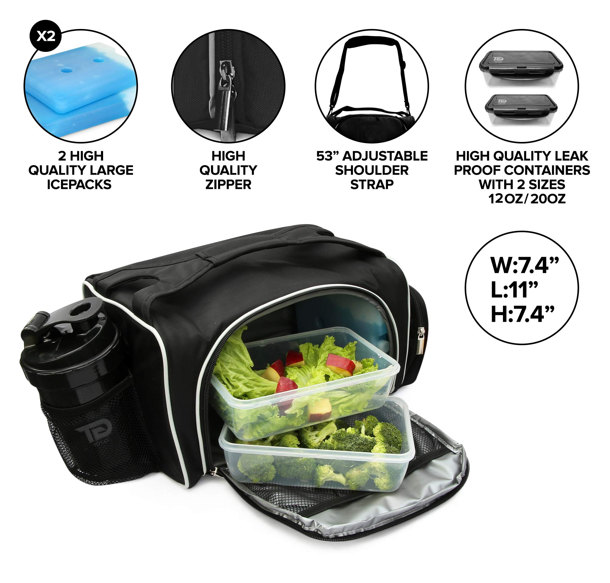 Meal Prep Bag By TO GO Insulated Lunch Meals Bag W/6 Portion Control Containers,2 ICE PACKS, Shaker, Pill Box,With an Adjustable shoulder. bag for meals (Black/new) by TO GO (Image #4)