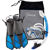 Seavenger Adult and Junior Diving Snorkel Set- Dry Top Snorkel / Trek Fin / Single Len Mask / Gear Bag- Blue/red/yellow/black/bs