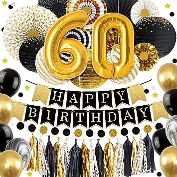 NICROLANDEE 60 Decoraciones de cumpleaños - Globo de Oro ...