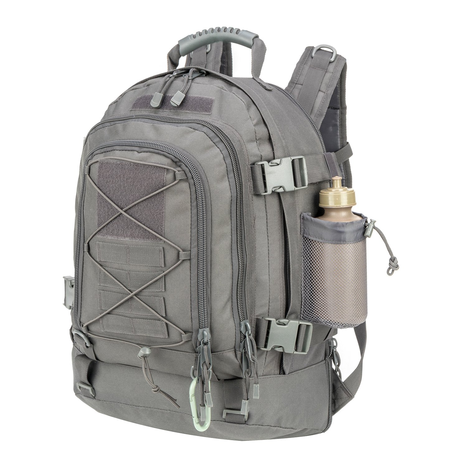 ARMYCAMOUSA 40L Outdoor Expandable Tactical Backpack Military Sport Camping Hiking Trekking Gym Bag (08001A Grey)