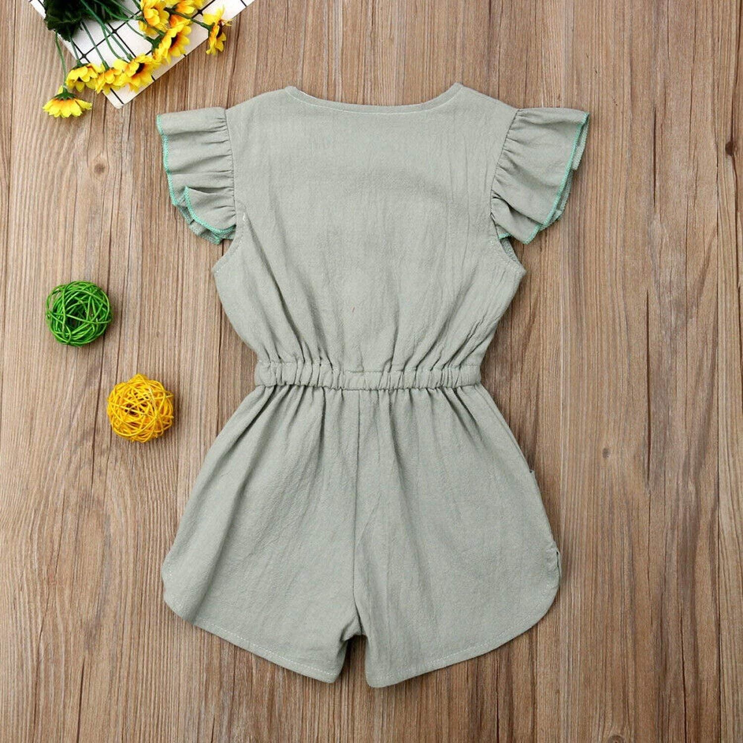 entertainment-moment-romper 1-6Years Toddler Kids Baby Girl Button Sleeveless Ruffle Playsuit Jumpsuit Outfits Clothes