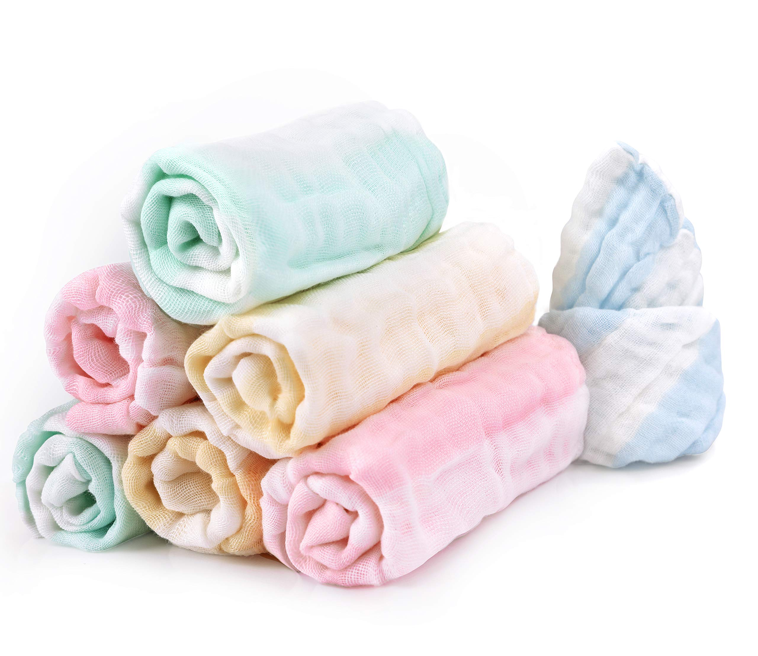 Bamboo Cotton Baby Muslin Washcloth LifeTree Baby Washcloths Soft 6 Pack Face Towels Baby Shower Gift 10.6 x 10.6inch Bibs for Newborn with Sensitive Skin Pink