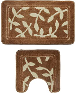 Attraction Design Bathroom 2 Pieces Bath Rug Pedestal Mat Set Contour and bath  mat Brown White