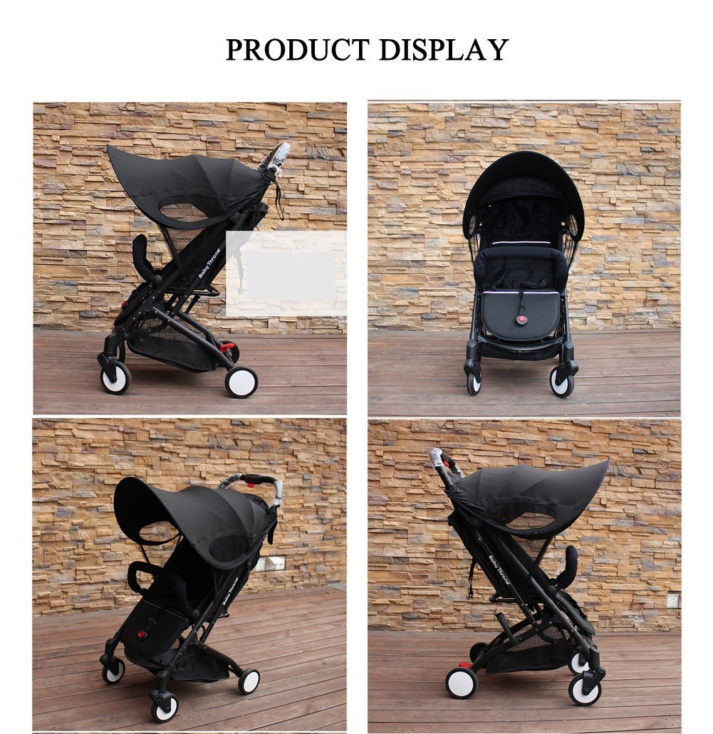 Baby Stroller Sun Ray Shade Pram UV Protection Cover, Weather Shield, Universal, Cotton LYCRAR for Infant Kids- 4 Colors,Black by YWXJY (Image #3)