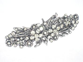 09f61f873080c 8 cm Vintage  Antique Style Crystal  Diamante Flower Design Hair Barrette  Hair  Clip