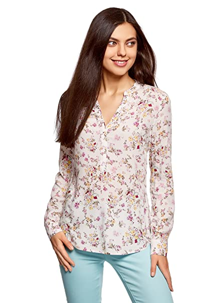 oodji Collection Mujer Blusa de Viscosa Estampada, Marfil, ES 36 / XS