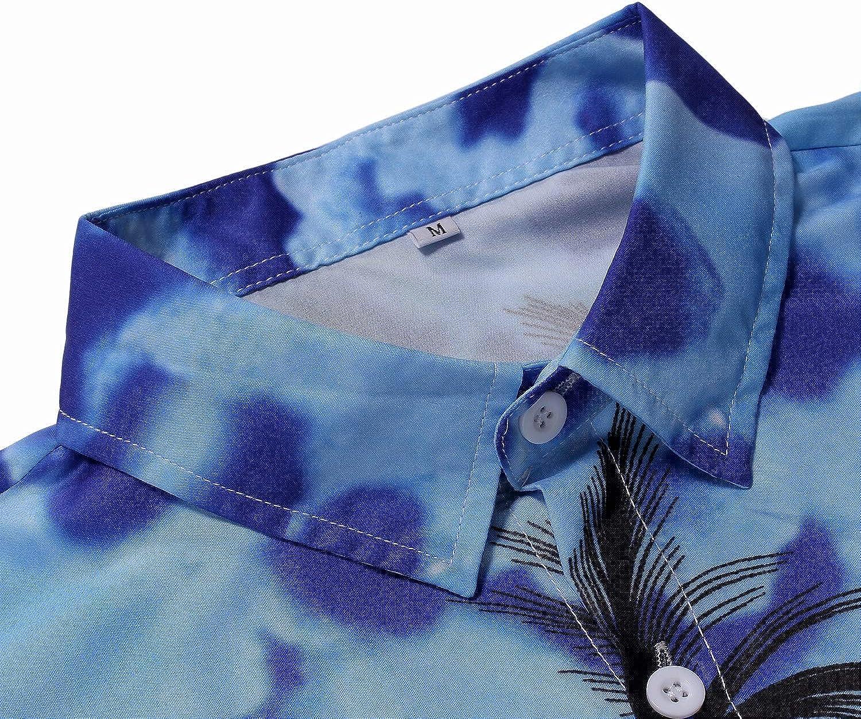 Johoproce Hawaiian Shirts Mens Causal Fit Camp Palm Tree Short Sleeves Button Down Beach Shirt