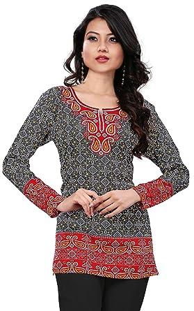 006d87423e Maple Clothing India Long Tunic Top Kurti Womens Printed Indian Apparel ( Black, S)