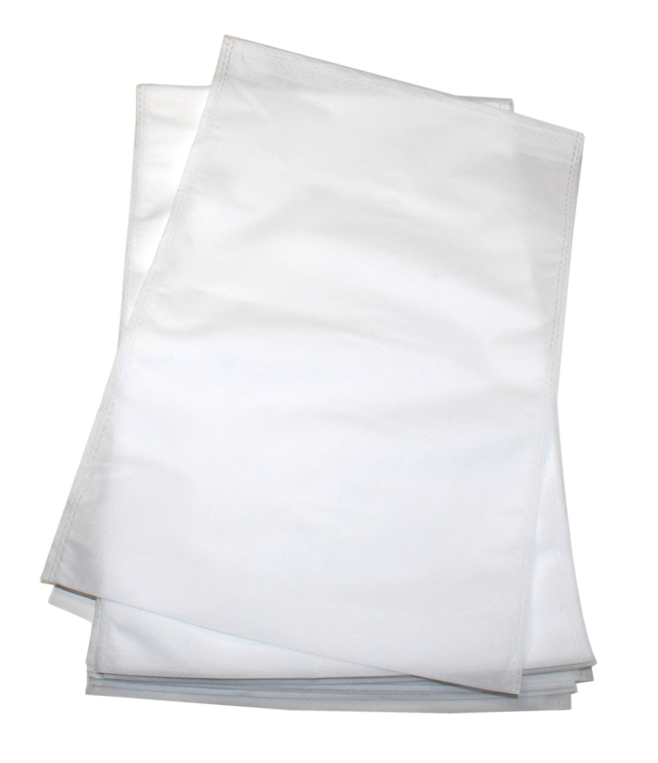 Lucore 24 PCs White Non-Woven Drawstring Travel & Home Disposable Storage Bags for Shoes, Laundry & Socks