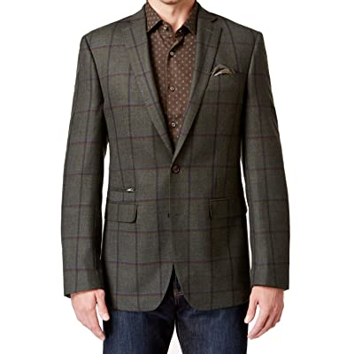 Tallia Mens Two Button 100% Wool Windowpane Plaid Sport Coat 36R Green