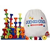 CC O Play Stacking Pegboard Toy for Toddlers, 50 Colorful Pegs and Travel Bag, Montessori Educational Building Toy for Kids,  Ebook with Pattern Cards and Games for Preschool Children