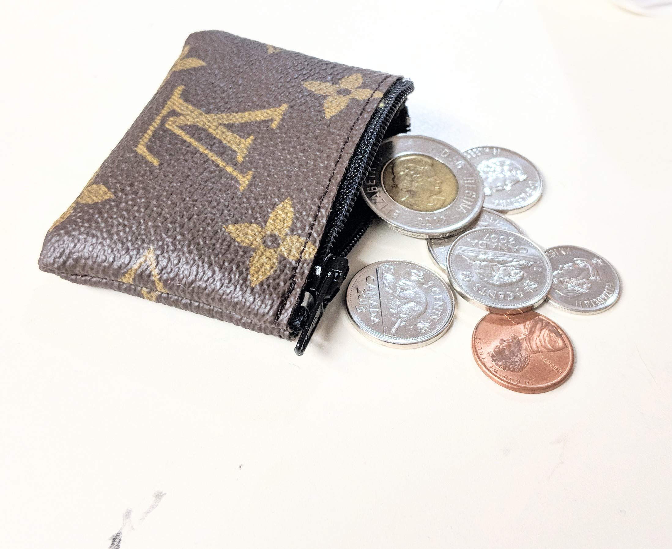 Handcrafted upcycled and repurposed into mini coin purse from old authentic LV bag canvas-please read item description before you make your purchase