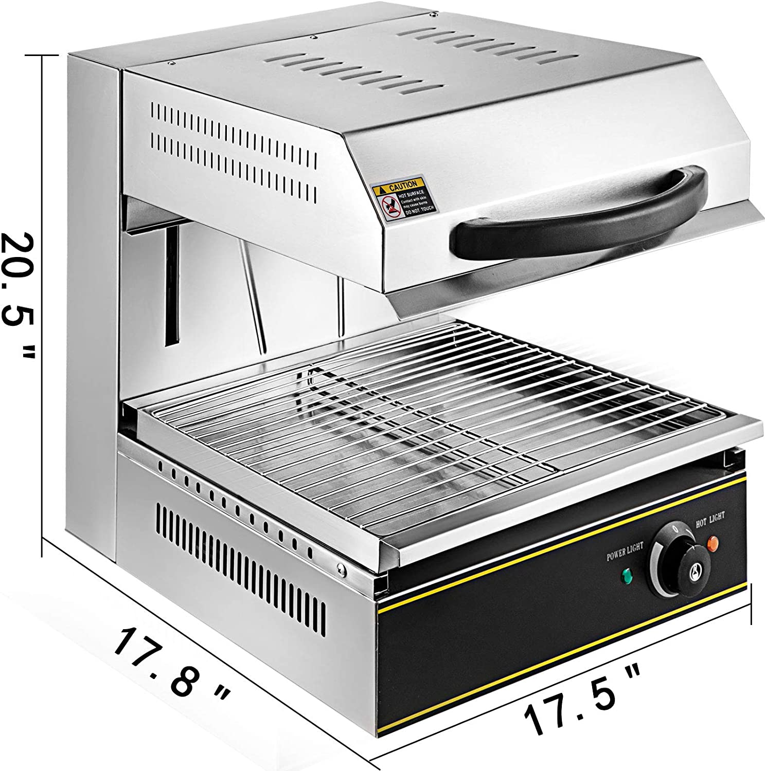 Vbenlem Countertop Salamander Broiler 2800w 17 5 Inch Width Kitchen Salamander Oven Liftable Stainless Steel Electric Cheese Melter Temperature Control 50 300 For Commercial And Home Use Industrial Scientific Commercial Cooking Equipment G2