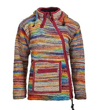 d1c55963f49a Kunst und Magie Wollstrickjacke  Regenbogen  Hippie Goa mit Zipfelkapuze,  Size Größe
