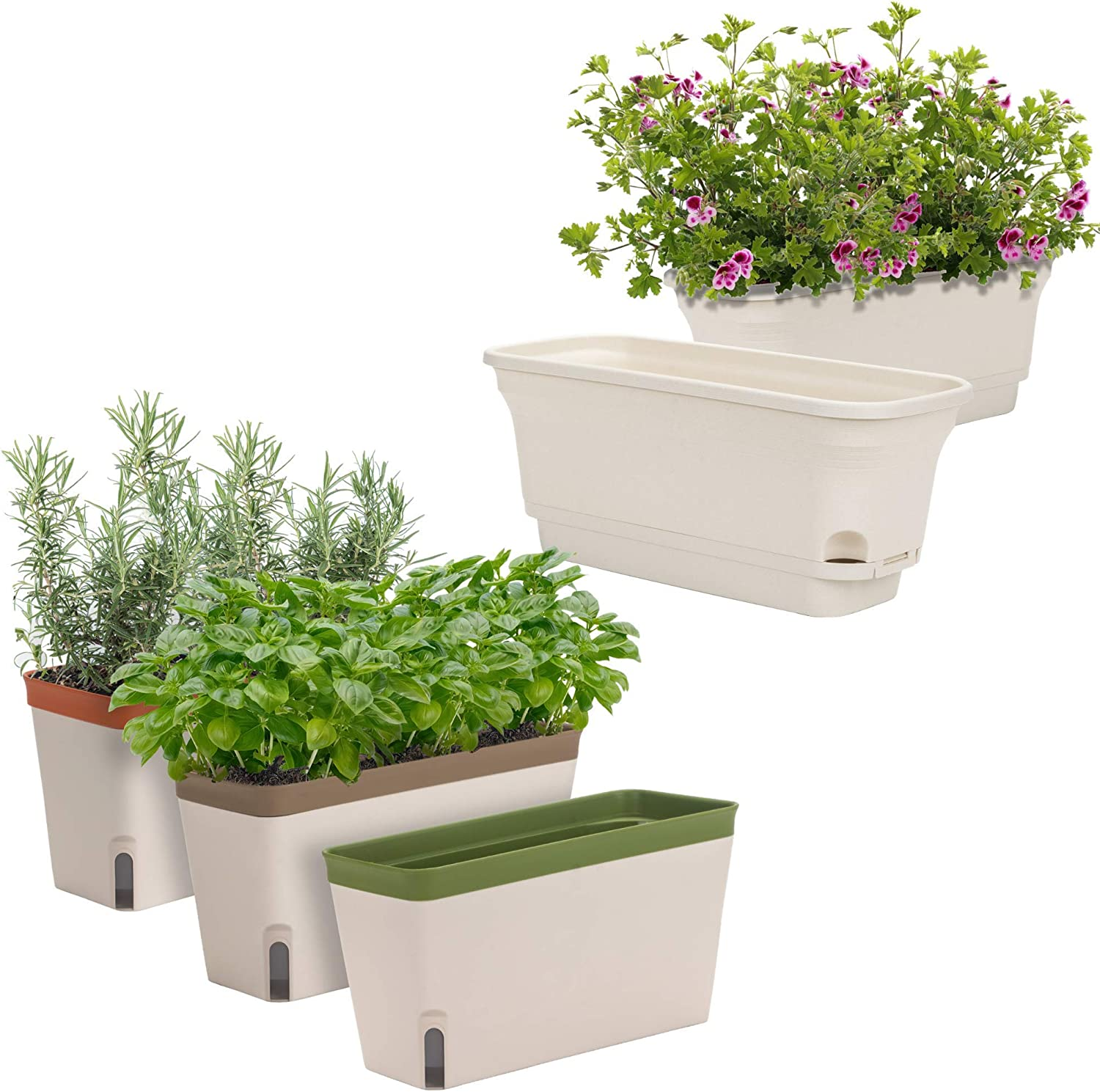 Set of 3 and Set of 2 Windowsill Herb Planters Bundle | Self-Watering Rectangular Herb Garden Boxes | Plastic Pots for Herbs, Greens, Flowers, House Plants and Succulents | Indoor/Outdoor Flowerpots