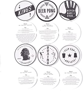 Izola Double Sided Heavy Duty Paperboard Party Décor Coaster Set - Drinking Games Set