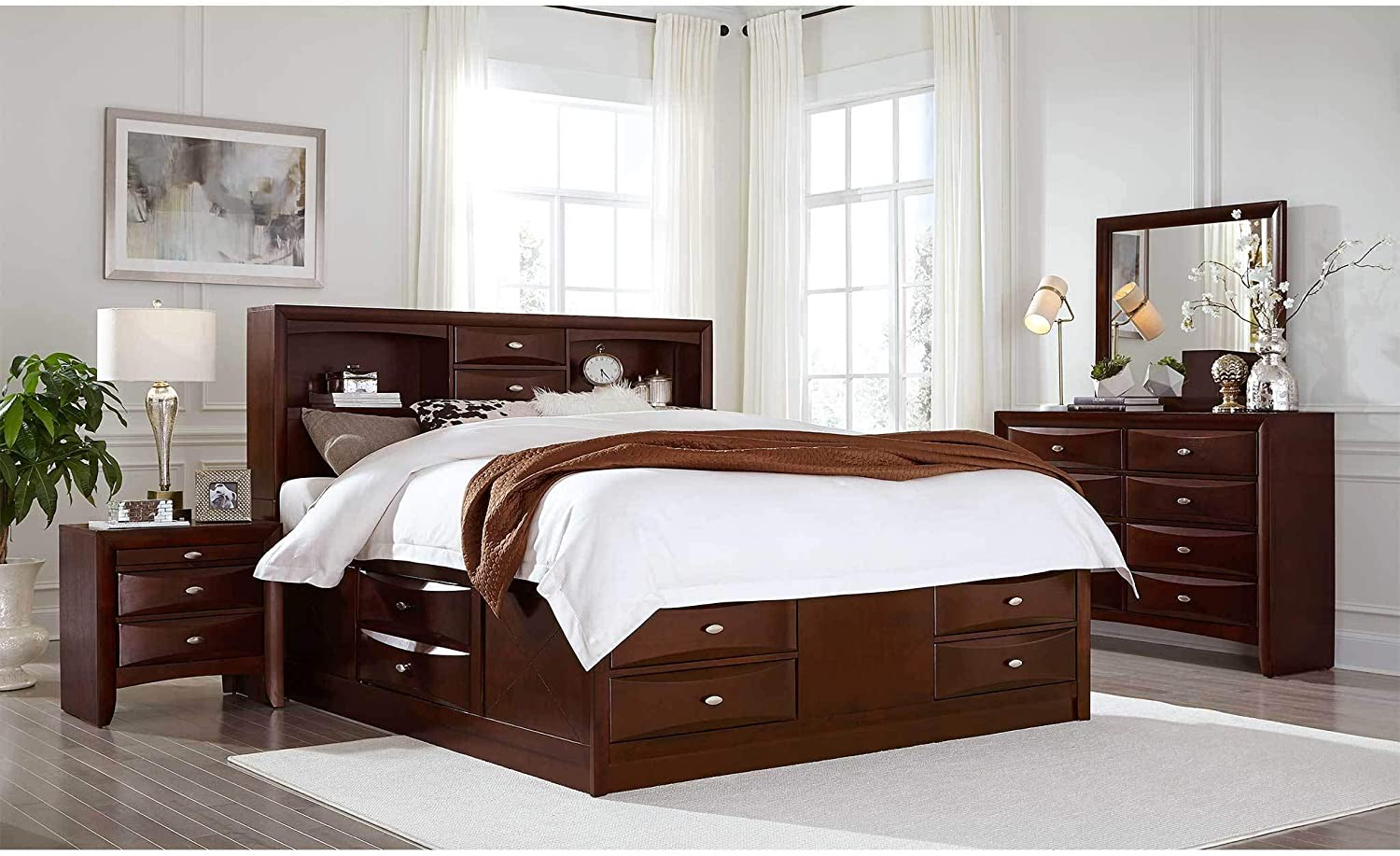Full, Black Global Furniture USA Linda Bedroom Set Includes Inside Delivery with Assembly to Room of Choice 5 Piece