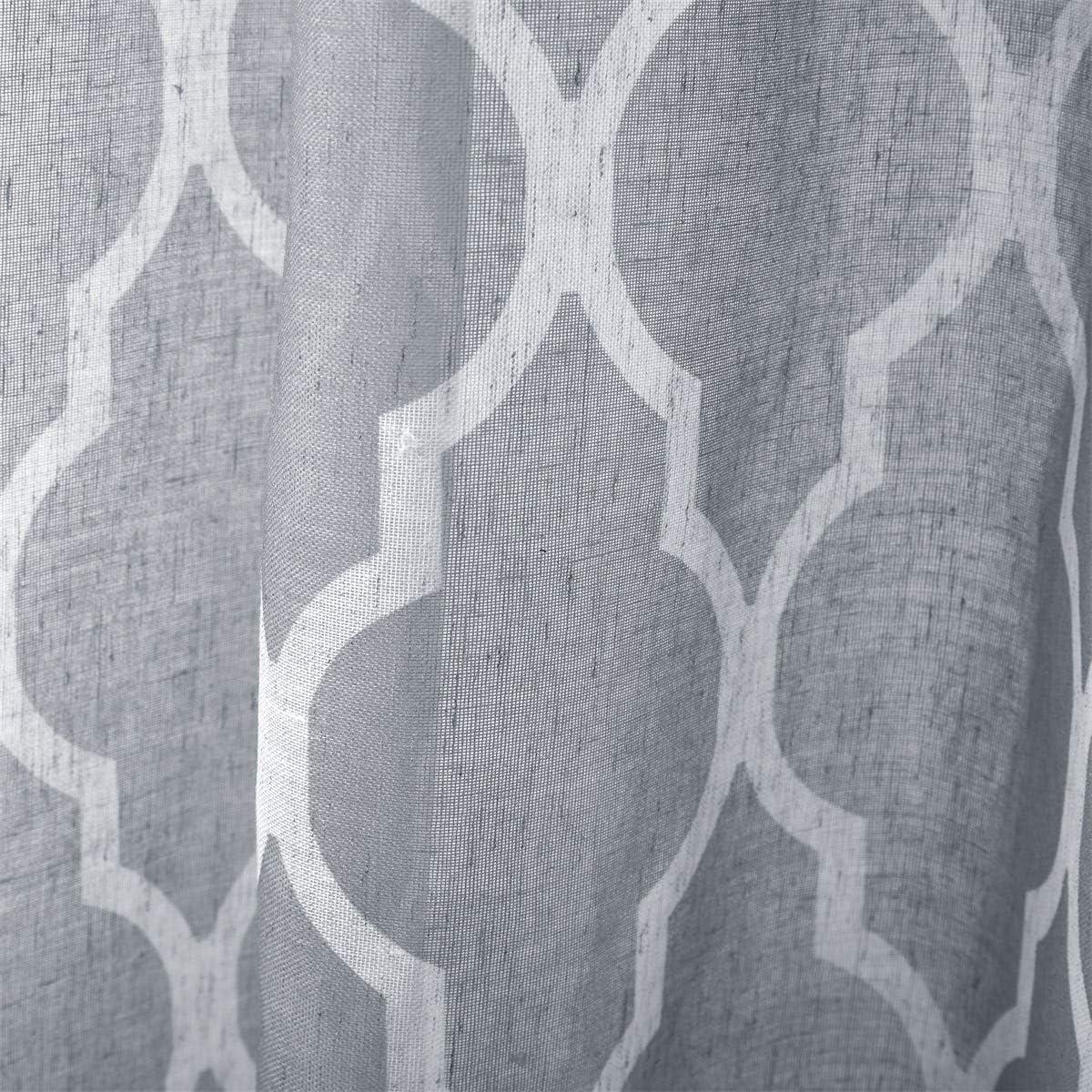 2 Panels 42 W x 63 L LoyoLady Cyan Blue Linen Pattern Sheer Curtains for Boys Bedroom Grommet Top Window Curtain 63 inch Length
