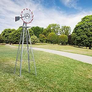 Molinillo de Viento Grande de 2, 43 m, de HAPPYGRIL, para jardín, jardín, Adorno de Metal, para jardín, césped o Patio, Color Gris: Amazon.es: Jardín