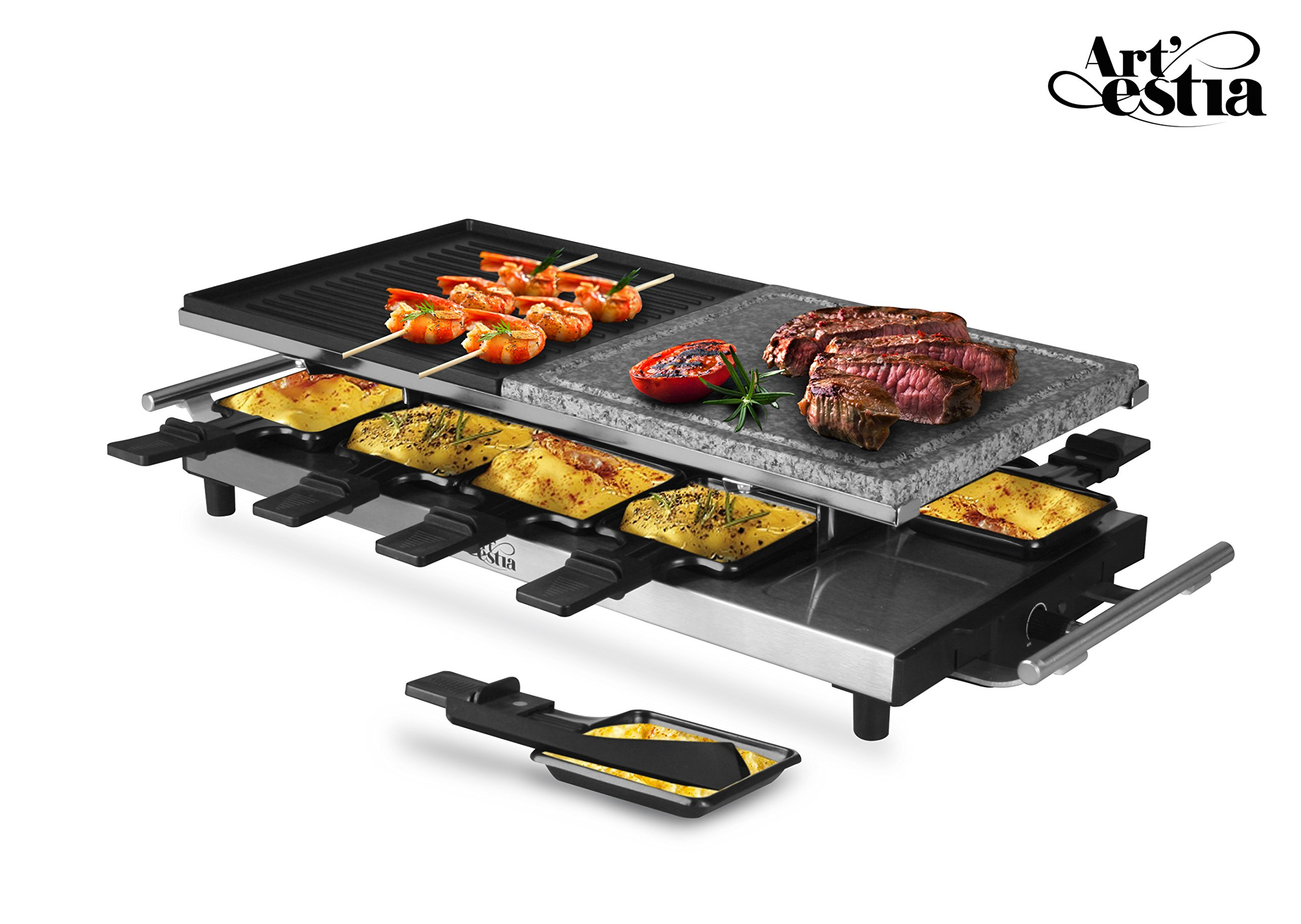 Artestia 10 Person Large Stainless Steel Electric Raclette Grill with Two Half Size Plates, High Power 1500W (Stainless Steel Half Stone/Half Aluminum for 10 persons)