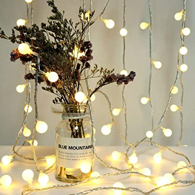 Jpinbo LED Globe String Lights, Plug in String Lights, 49ft 100 LED Warm White Ball String Lights, Perfect for Christmas/Dorm/Patio/Garden/Party/Room Decorations, with 8 Lighting Modes, Extendable : Garden & Outdoor