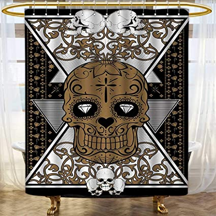 Anhounine Tattoo Shower Curtains Fabric Skull With Diamond Eyes And Floral Theme Vine Art Renaissance