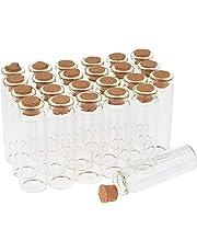 VBS Großhandelspackung 24 Glasröhrchen mit Korken Glasflaschen Klein Korkenflaschen ca. 7cm hoch 20ml Hochzeit Mitgebsel Fläschen Glasröhrchen