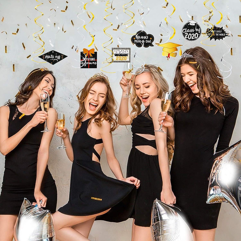 ZERHOK 30Stk Graduation Spiral 2020 Abschluss H/ängende Deko Doktorhut Bachelor Deckenh/änger Girlanden Abschlussfeier Folie Swirl f/ür 2020 Graduierung Party