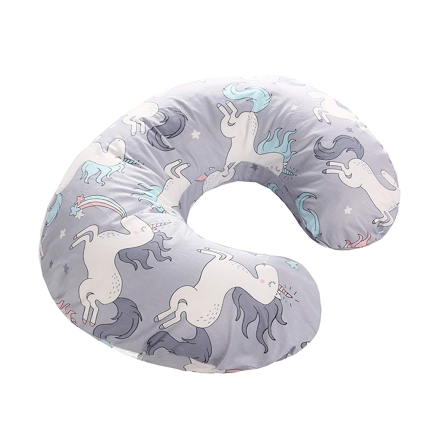 Blue LAT Nursing Pillow Cover,100/% Natural Cotton Breastfeeding Pillow Slipcover,Extra Soft and Snug on Baby Nursing Pillow