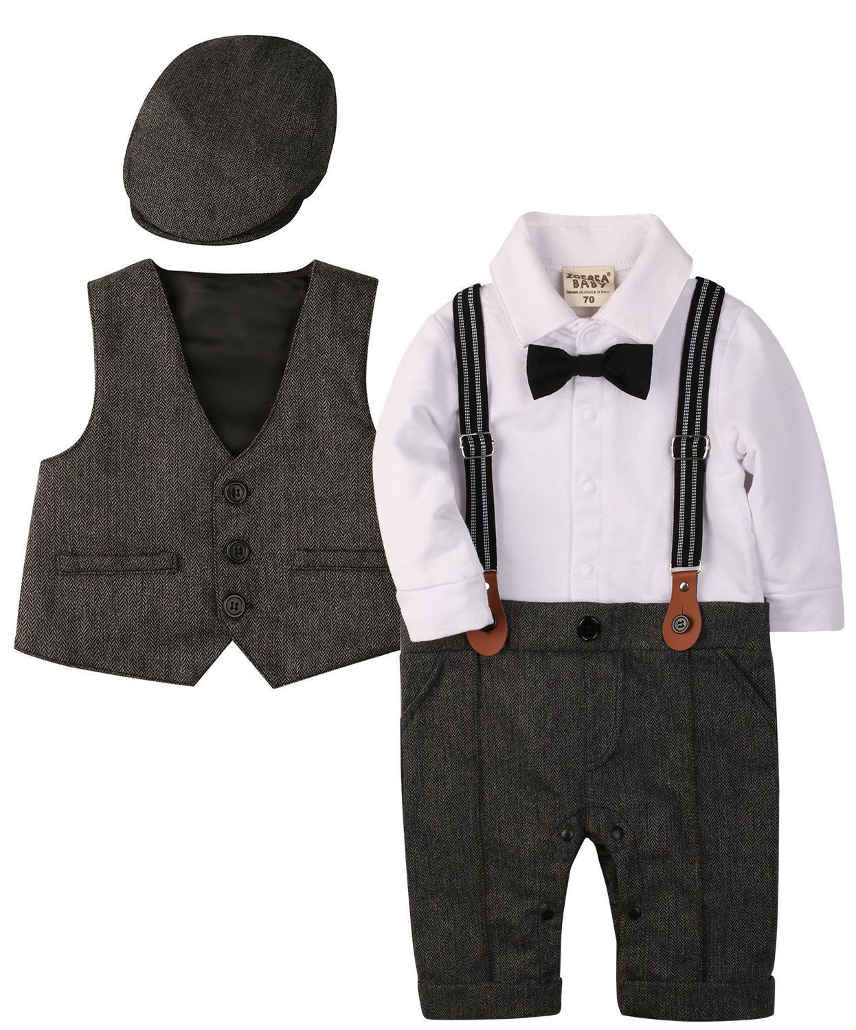 ZOEREA Baby Boy Outfits Set, 3pcs Long Sleeves Gentleman Jumpsuit & Vest Coat & Berets Hat with Bow Tie (Grey, Label 70)