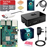 ABOX Raspberry Pi 3 B+ Model B Plus Complete Starter Kit Motherboard 32GB SanDisk EVO+ SD Card NOOBS, 2.5A On/off UK Edition Power Supply, Support POE (Pi 3 B+)