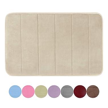 GRAND ERA Memory Foam Bath Mat Non Slip Absorbent Super Soft Velvet Microfiber Plush Shower Bathroom Rug Carpet, 20  x 32 , Beige