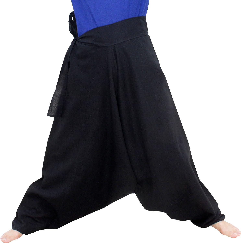 Deep Cotton Black item614580AMZ X-Large Raan Pah Muang Mixed Cotton Mao Hill Tribe Pants Side Tie