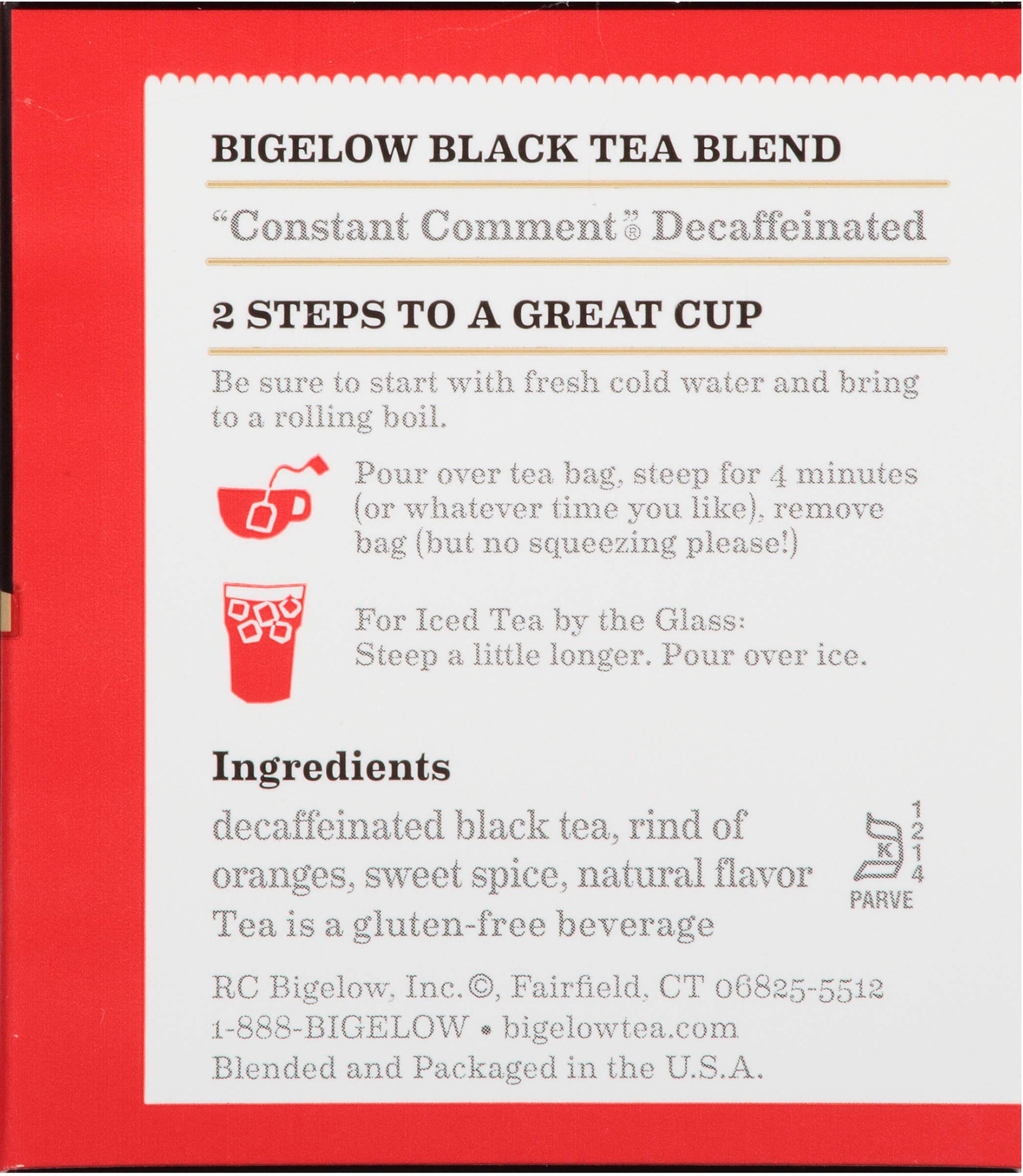 Bigelow Decaffeinated Constant Comment, Decaffeinated Individual Black Tea Bags, for Hot Tea or Iced Tea, Drink Plain or Sweetened with Honey or Sugar, 20 Count, Pack of 6 by Bigelow Tea (Image #4)