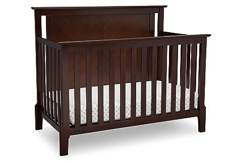 Serta Mid Century Modern Lifestyle 4-in-1 Convertible Baby Crib, Walnut Espresso