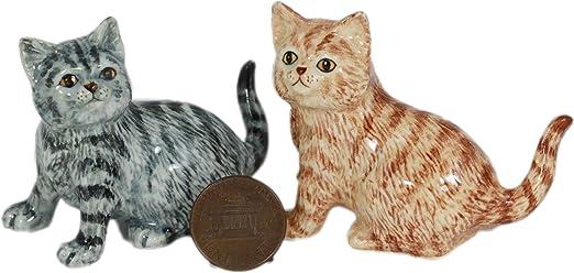 Naranja y gris de gato gatos/gato, en miniatura de cerámica Animal figura decorativa pintada a mano (2) : Amazon.es: Hogar