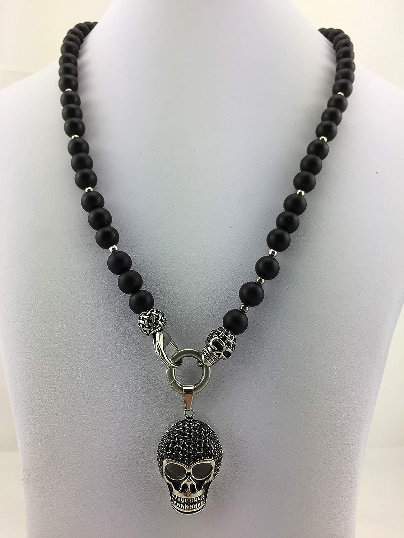 Totenkopf Skull Sch/ädel Perlenkette Bikerschmuck Rocker K/_117 Schmuck f/ür M/änner oder Frauen schwarz mit oder ohne Anh/änger coole Halskette Y-Kette Rosenkranz BLACK Onyx oder Lava