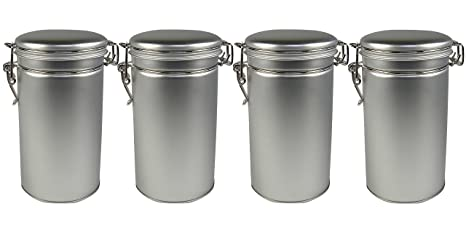 Steel Loose Leaf Tea and Spice Tin Round Canisters with Latch Cover - Set of 4  sc 1 st  Amazon.com & Amazon.com: Steel Loose Leaf Tea and Spice Tin Round Canisters with ...