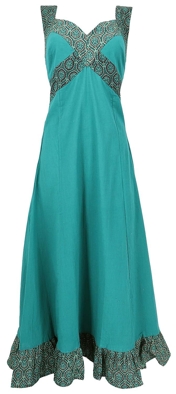 Guru-Shop Sommerkleid, Maxikleid, Strandkleid - Türkis, Damen, Baumwolle, Lange & Midi-Kleider Alternative Bekleidung