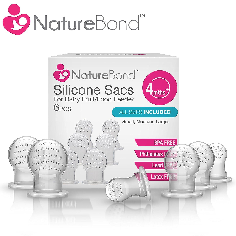 naturebond silicona Sac X 6 para bebé alimentos/Frutas alimentador ...