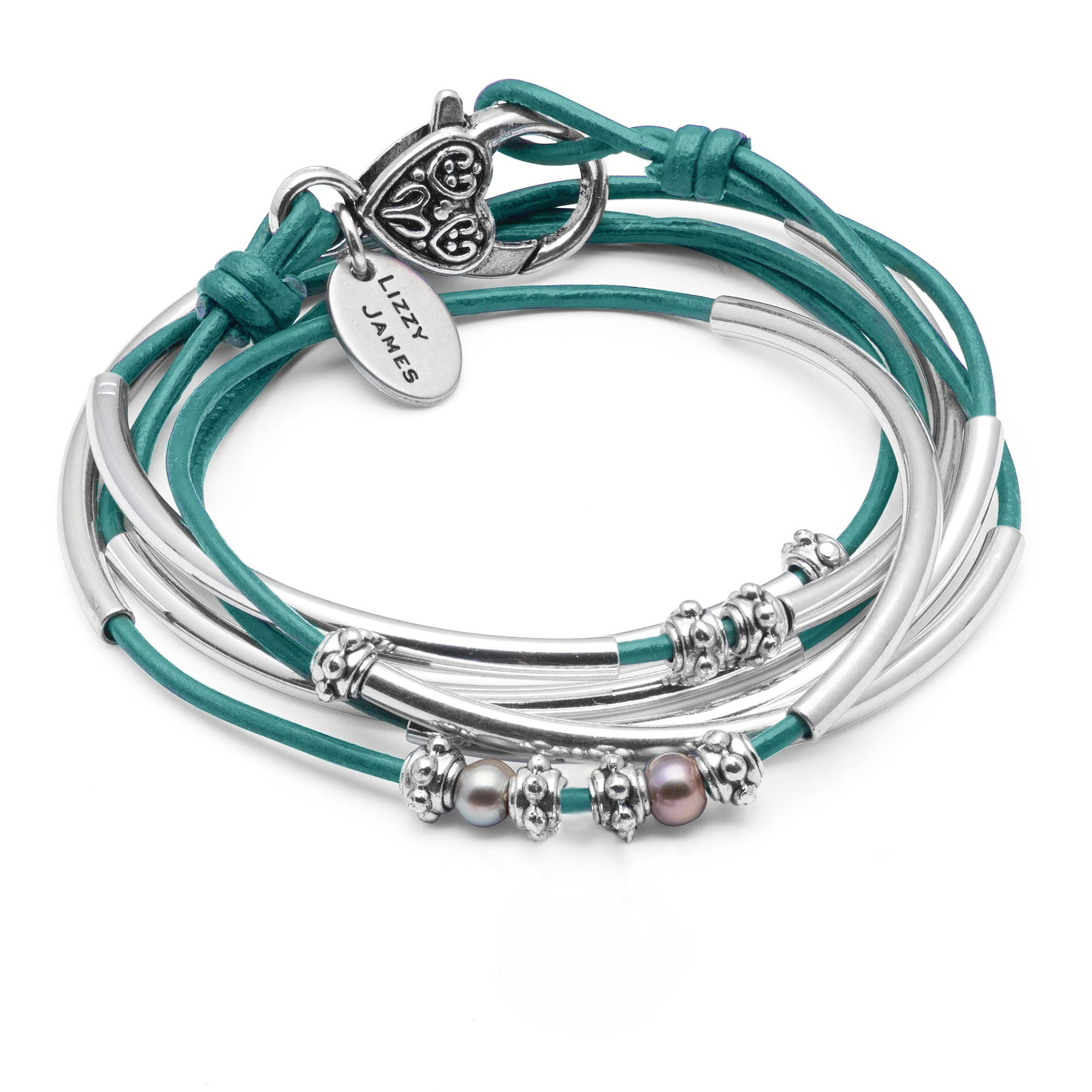 Lizzy James Charmer Wrap Bracelet Necklace in Silver plate and Metallic Teal Leather with Small Freshwater Pearls (LARGE)