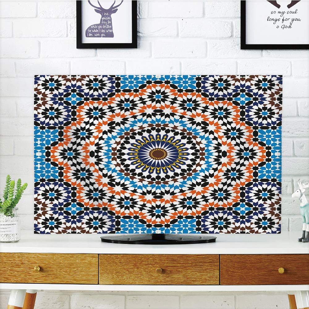 iPrint LCD TV dust Cover,Vintage,Moroccan Ceramic Tile Inspired Floral Arabic Old Fashioned Cultural Mosaic Print,Multicolor,3D Print Design Compatible 65'' TV