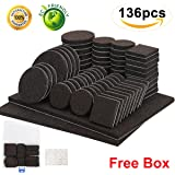 Furniture Pads 136 Pieces Pack Self Adhesive Felt Pads Brown Felt Furniture Pads Anti Scratch Floor Protectors for Chair Legs Feet with Case and 30 Rubber Bumpers for Hardwood Tile Wood Floor