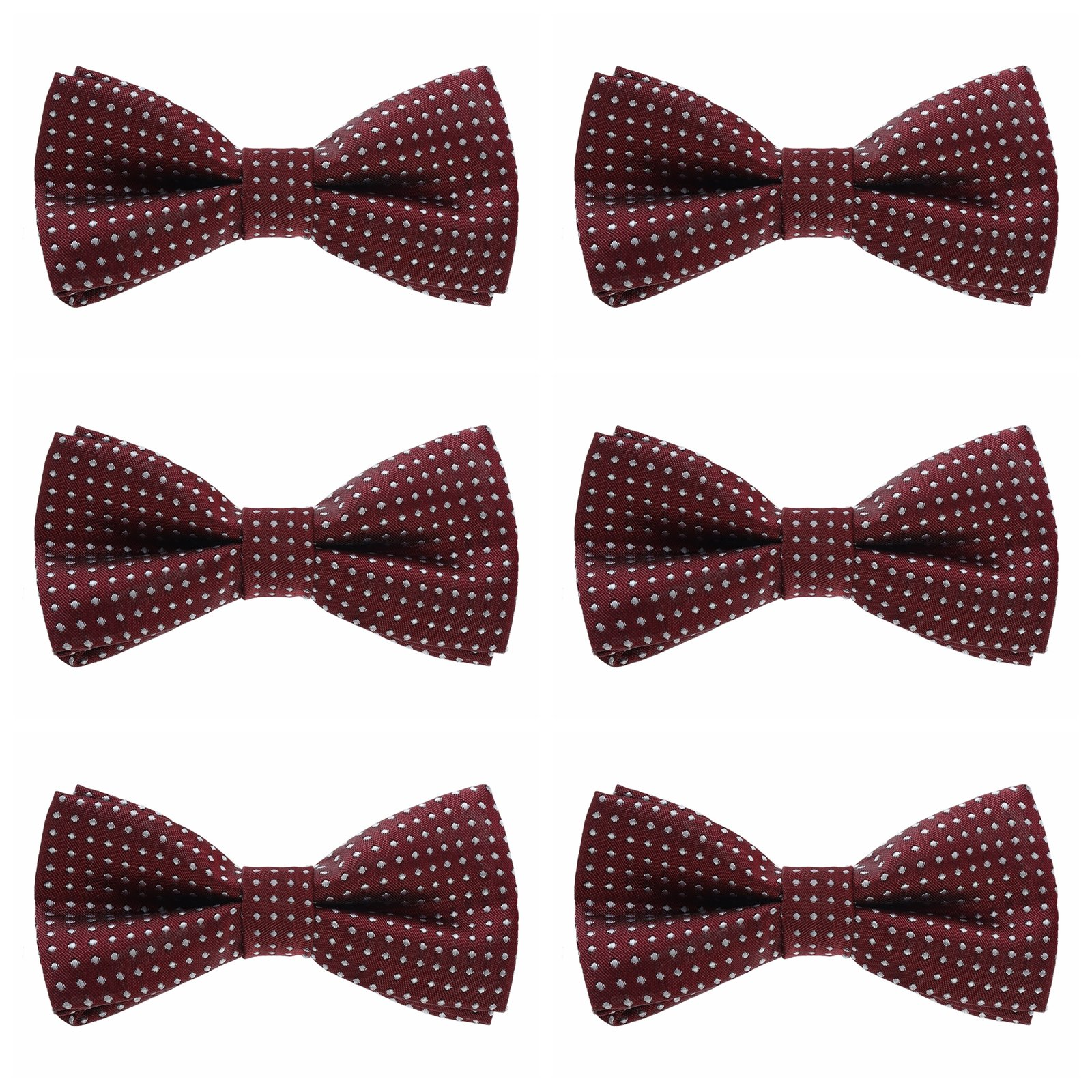 Boys Polka Dots Bow Ties - 6 Pack of Double Layer Adjustable Pre Tied Bowties (Wine Red)
